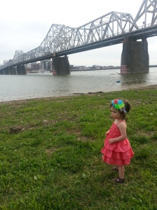 Charlie admiring the ducks on the Ohio river.